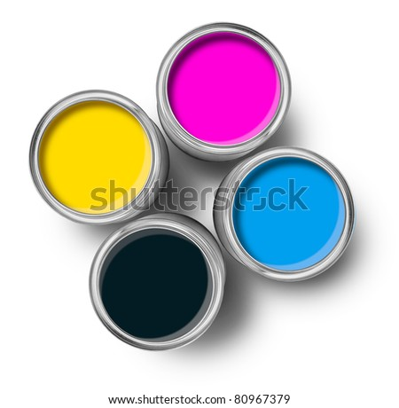 Cmyk color paint tin cans opened top view isolated on white - stock photo