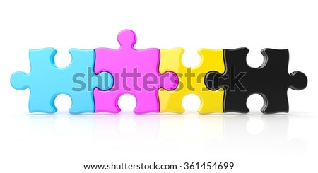 CMYK color puzzle row. 3D render illustration isolated on white background - stock photo