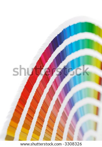 CMYK color swatch book. Short depth-of-field. - stock photo