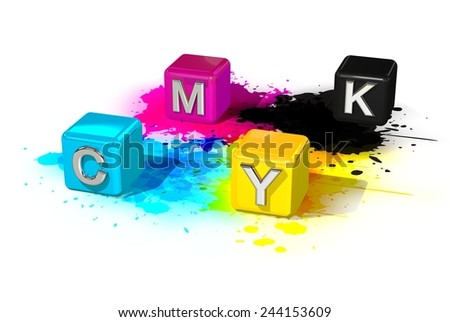 CMYK colored cubes on a white background - stock photo