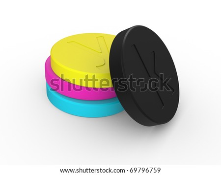 CMYK colors. Abstraction on a white background - stock photo