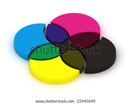 CMYK colors crossing. 3D illustration. - stock photo