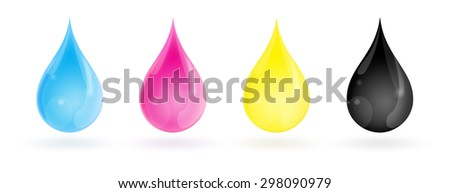 CMYK colour ink drops with shadow isolated on a white background. With clipping path. - stock photo