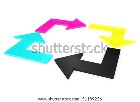 cmyk curved arrows in square isolated on white background - stock photo