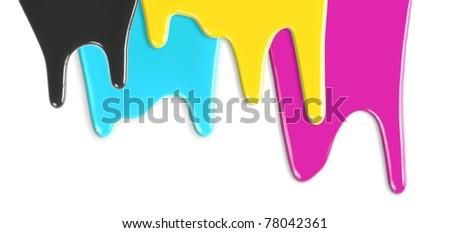 CMYK cyan magenta yellow black inks dripping isolated on white - stock photo