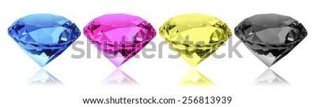 cmyk diamonds - stock photo