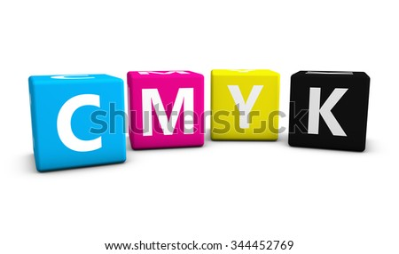 Cmyk digital offset printing and graphic design concept with colors and letter on cubes 3d illustration isolated on white background.