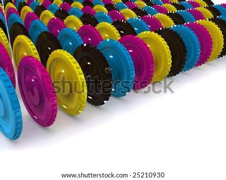 CMYK gears. 3d - stock photo