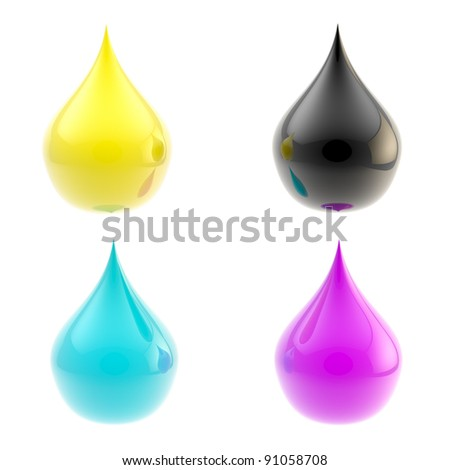 Cmyk: glossy drops colored in cyan, magenta, yellow and black isolated on white
