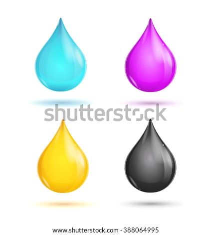 CMYK Glossy Paint Drops on White Background. illustration - stock photo