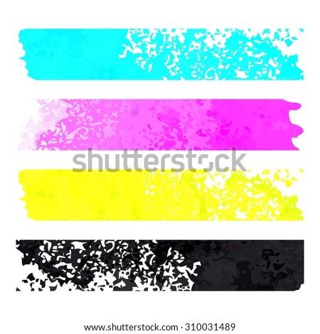 CMYK grunge stripes pattern. Vector background. raster version - stock photo
