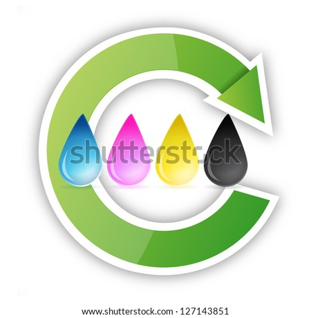 cmyk inkjet ink drops recycle illustration design over white - stock photo