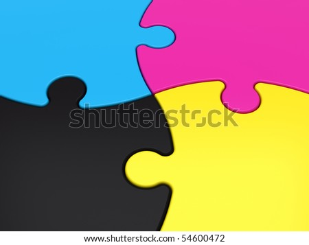 CMYK jigsaw puzzle close-up