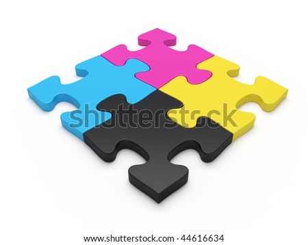 CMYK jigsaw puzzle pieces - stock photo