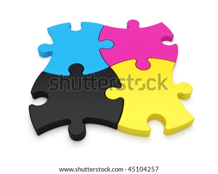 CMYK jigsaw puzzle pieces - see more in portfolio - stock photo
