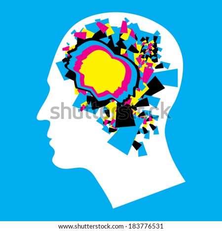 CMYK - Left and Right human brain - stock photo