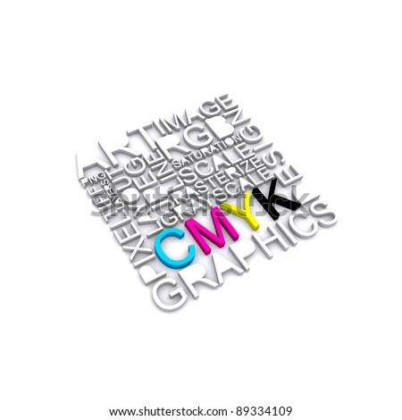 CMYK letters design art image - stock photo