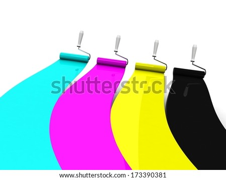 Cmyk lines and roller brushes - stock photo