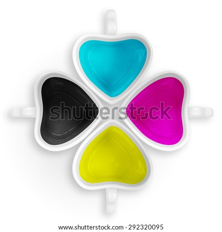 CMYK love cups isolated. - stock photo