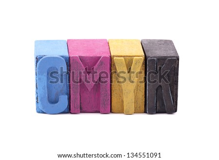 Cmyk made from old letterpress blocks - stock photo