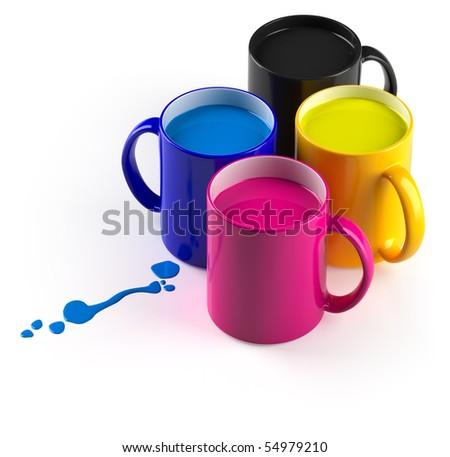 CMYK mugs. - stock photo