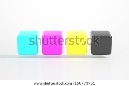 CMYK - Multicolored Cubes - stock photo