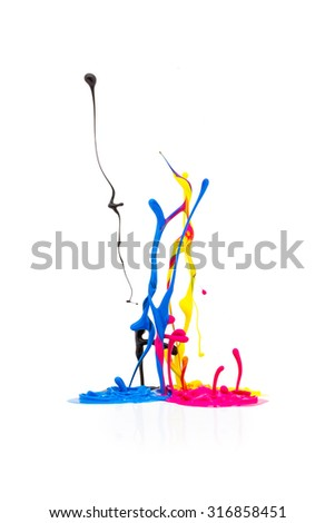 CMYK paint colors splashing - stock photo