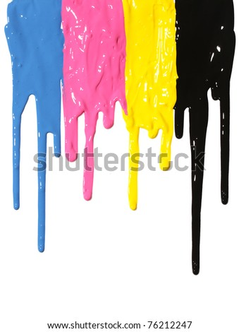 CMYK paint dripping isolated on white - stock photo