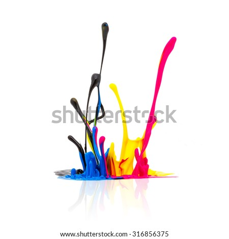 CMYK paint splashing isolated on white background