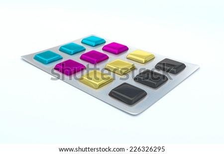CMYK pills or gum (High resolution 3D render) - stock photo