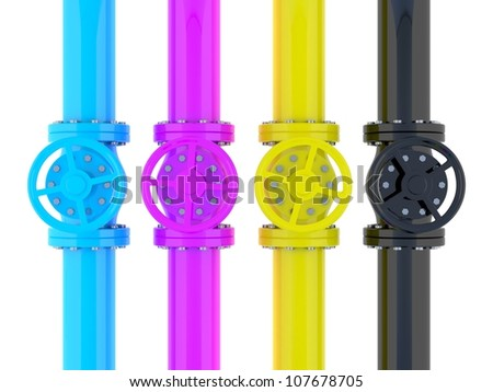 CMYK pipelines with valves - stock photo