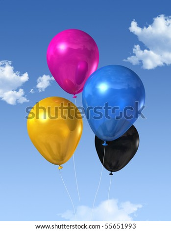 CMYK primary colored air balloons floating on a blue sky