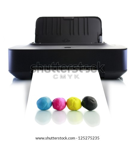 CMYK printer - stock photo