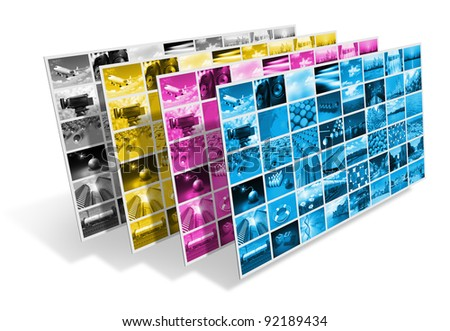 CMYK printing process concept isolated on white background - stock photo