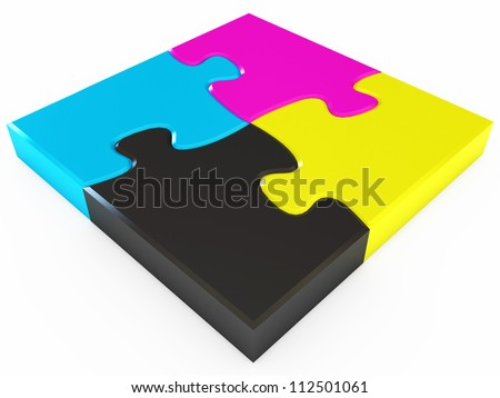 Cmyk puzzle. White background. 3d render - stock photo