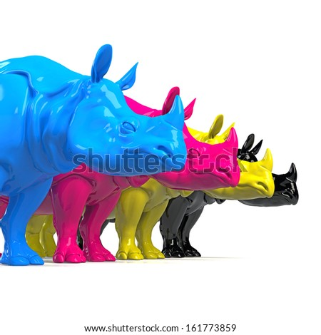 CMYK Rhino concept - stock photo