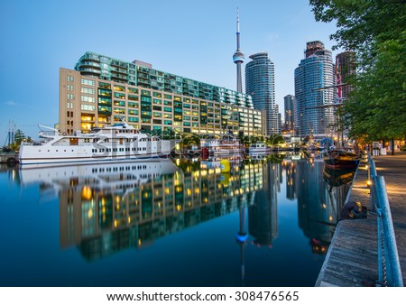 CN tower and Toronto Harbour reflection. - stock photo