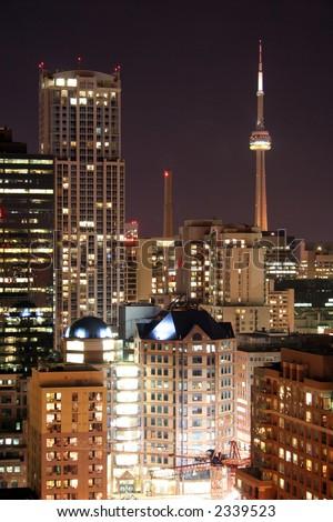 cn tower at night long exposure - stock photo