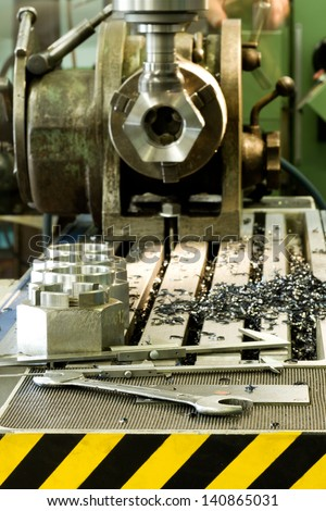 CNC drilling and milling machine in a workshop - stock photo