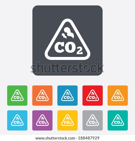 CO2 carbon dioxide formula sign icon. Chemistry symbol. Rounded squares 11 buttons. - stock photo