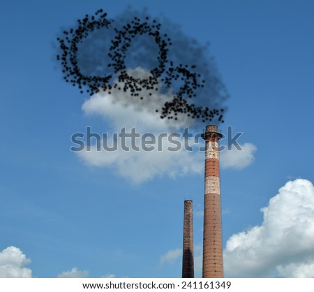 CO2, chemical symbol of carbon dioxide. - stock photo