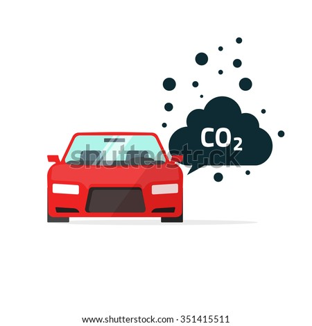 co2 emissions illustration, carbon dioxide emits symbol, smog pollution concept, smoke pollutant, damage, contamination, garbage, combustion products isolated on white flat modern design sign image - stock photo