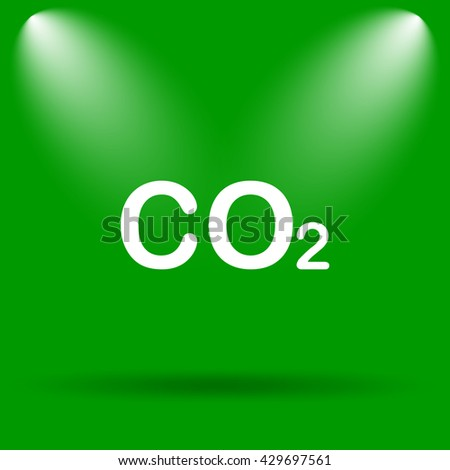 CO2 icon. Internet button on green background.