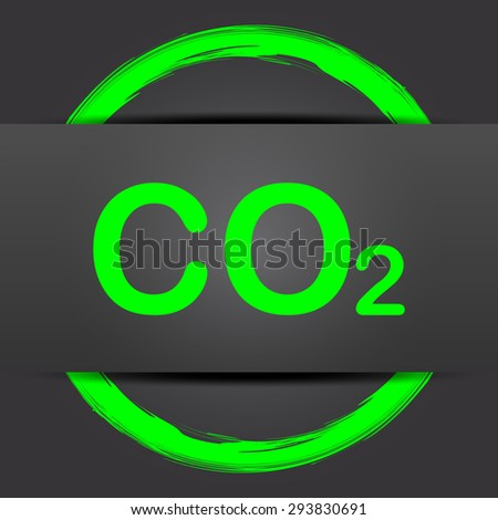 CO2 icon. Internet button with green on grey background.  - stock photo