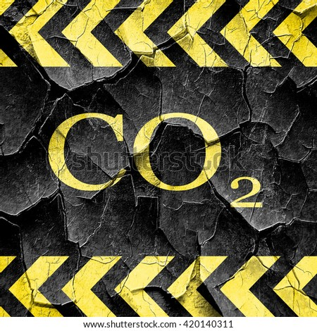 CO2 warning sign, black and yellow rough hazard stripes