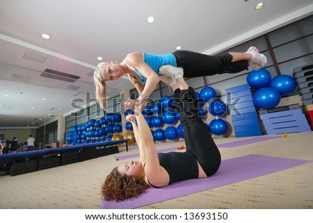 Coach and her gymnasts in the fitness