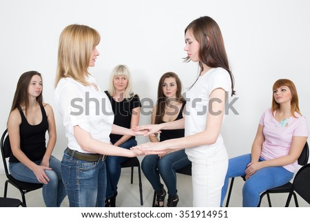 Coach and support group during psychological therapy. training for women. development of sensuality, sexuality - stock photo