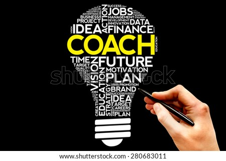 COACH bulb word cloud, business concept - stock photo