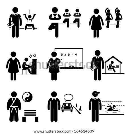 Coach Instructor Trainer Teacher Jobs Occupations Careers - Gym, Yoga, Dancing, Music, School Teacher, Home Tutor, Martial Arts, Driving, Swimming - Stick Figure Pictogram - stock photo