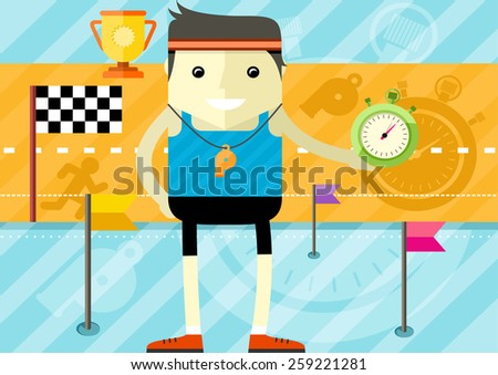Coach man icon with whistle and stopwatch in hand in flat design. Raster version - stock photo